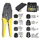 mango antideslizante agarre cómodo Crimpadora HS-03BC 8 Jaw para enchufe/tubo/aislamiento/sin aislamiento/tapa de engarce/Terminales de cable coaxial Kit de herramientas de abrazadera de 230