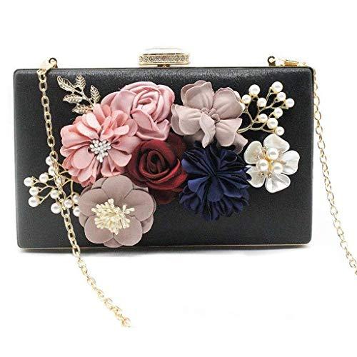 XYZMDJ Pflanze Blumen-Mappe, Abend-Partei-Beutel-Kupplungs-Geld Vintage Wedding Handtaschen Wallet (Color : Black)