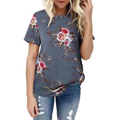 Chemisier Femmes, Toamen T-shirt à manches courtes Impression florale Sexy Décontractée Simple Tops Mousseline de soie T-shirts Printemps Été L'automne (M, Gris)