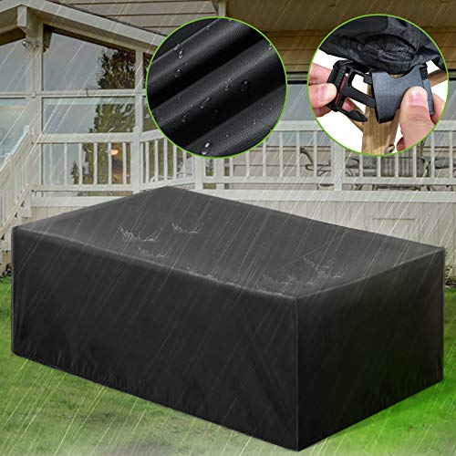 """ESSORT Patio Furniture Covers, Extra Large Outdoor Furniture Set Covers 124""""x63""""x29"""" Waterproof, Rain Snow Dust Wind-Proof, Anti-UV, Fits for 10-12 Seats"""