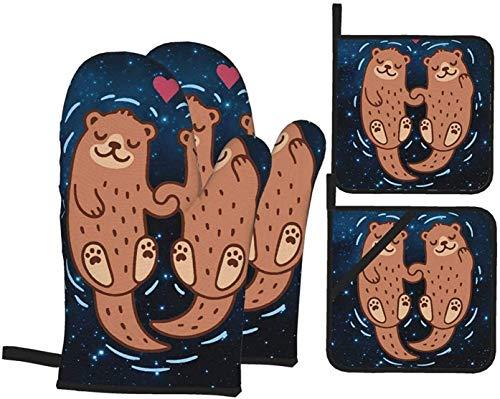 MODORSAN Niedliche entzückende schwimmende Otter-Liebhaber-Paar-Ofenhandschuhe und Topflappen Küchenset 4-teilige,hitzebeständige rutschfeste Kochhandschuhe Topfpolster für das Grillen des Grillens