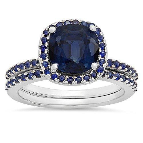 DazzlingRock Collection Damen 1,75 Karat Gold 10K Polster & Rundschnitt Blaue Saphir Braut Halo Verlobungsring Satz 1 3/4 Ct 4