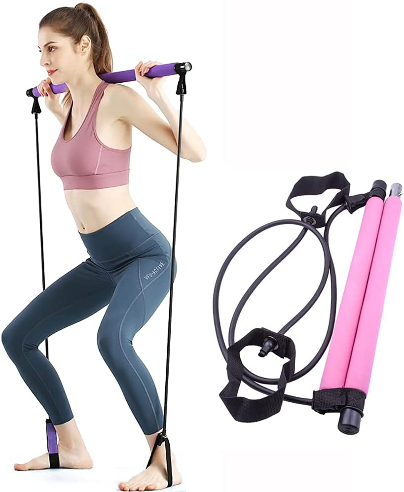 TCOOME Pilates Bar Kit Clearance SALE Limited time Fees free!! with Length Resistance Band Adjustable fo