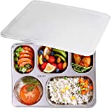 AIYoo 304 Stainless Steel Divided Plates with Lid for Adults Divided Dinner Tray 5 sections Bento Lunch Box Divided Food Containers
