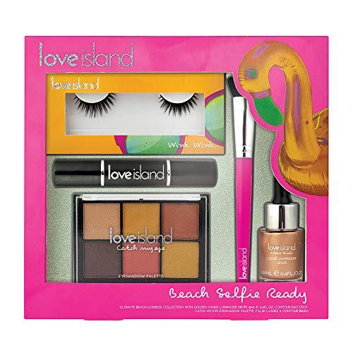 Love Island Beach Set - Liquid Luminizer, Oogschaduw, Contour Stick, Borstel, Lassen & Lijm - Roze