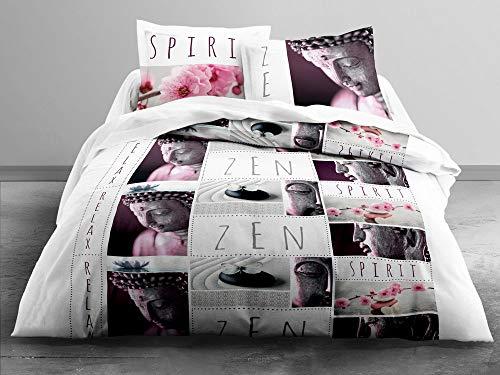 TODAY Parure de lit 2 Personnes Zen Spirit Housse de Couette 220x240 cm + 2 taies d'oreiller 63x63cm, Coton, Blanc/Noir/Rose