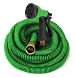 GrowGreen Expandable Garden Hose, Water Hose with High Pressure Hose Spray Nozzle, Flexible Garden Hose with All Brass Connectors, Leak Proof, Durable, Heavy Duty Material (25 Feet)