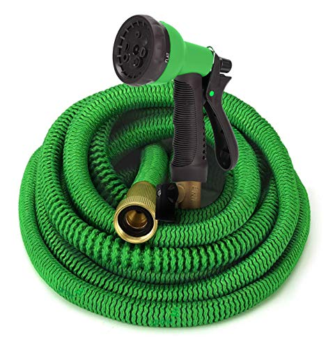 GrowGreen Garden Hose, Flexible Water Hose with High Pressure Hose Spray Nozzle, Expandable Garden Hose with All Brass Connectors, Leak Proof, Durable, Heavy Duty Material