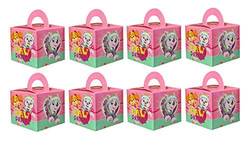 8 x scatole regalo, cartone regalo, adatto anche come sacchetti per i regali – dimensioni finite 6,5 x 6,5 x 8,5 cm diversi motivi a scelta Paw Patrol rosa-turchese.
