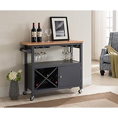 Kings Brand Furniture Grey / Natural Finish Wood Kitchen Storage Serving Cart With Wine Rack