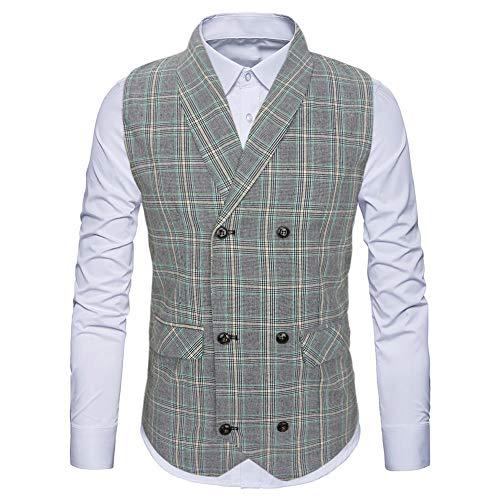 WULFUL Herren-Weste, zweireihig, Tweed, Vintage, Gentleman, britischer Anzug - - X-Large