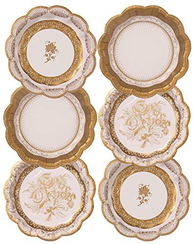 Talking Tables Party Porcelain Gold Petites Assiettes en Carton Style Vintage pour Noël, Mariage et Réception ou Dîner, Multicolore, 18 cm (Paquet de 12 contenant 3 modèles)