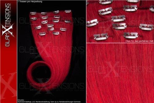 Remy Clip In Extensions 7 teiliges Set 70g Haare 60cm Rot 100% indisches Echthaar Clip-In Echthaar Haarverlängerung Haarverdichtung