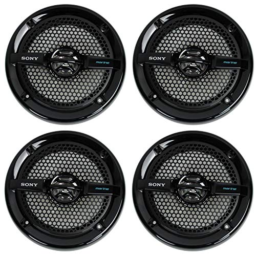 "Sony 4 XS-MP1611b 6.5"" 280 Watt Dual Cone Marine Speakers Stereo Black XSMP1611"