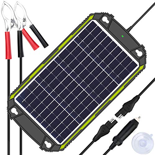 Sun Energise Waterproof 12V 10W Solar Battery Charger Pro - Built-in MPPT Charge Controller + 3-Stages Charging - 10 Watts Solar Panel Trickle Battery Maintainer for Car, Motorcycle, Boat, ATV etc.