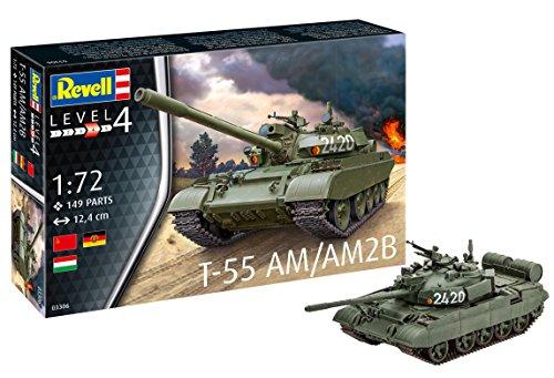 Revell 03306 T-55AM / T-55AM2B, 12,4cm Spielzeug Modellbausatz Panzer 1:72, orginalgetreue Nachbildung, für erfahrene Bastler