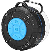 Bluetooth Shower Speaker, PEYOU IPX7 Waterproof Bluetooth Portable Wireless Outdoor Speaker with Suction Cup & Carabiner-Bass HD Sound-Built in Mic- Bluetooth Speaker for Party,Beach,Cycling,Hiking