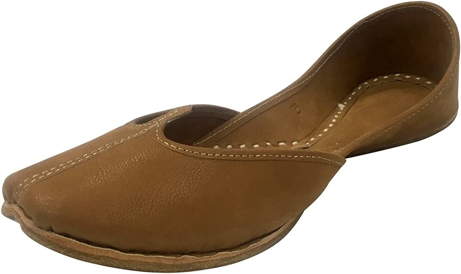 Step n Style Ladies Brown Punjabi Jutti Khussa shoes Ethnic Mojari Flat Ballerina