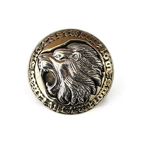 コンチョ シルバー925 ネジ式 パーツ ボタン カスタム ライオン 獅子 ブラス 真鍮 コンビアクセ バイカラー