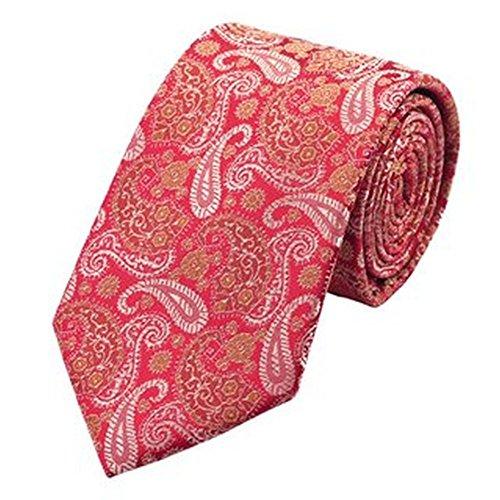 Jason & Vogue Designer Cravate en rouge avec Golden Motif cachemire Blanc