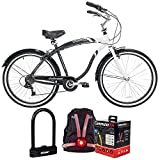 Kent 42692 26-inch Men's Oakwood Cruiser Bicycle Bundle with Deco Gear Heavy Duty Combination U-Lock Bike Lock and Veglo Commuter X4 Wearable Rear Light System