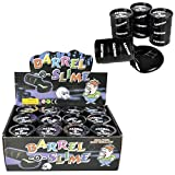 SRENTA Small Barrel of Black Slime, Black Slime Container for Kids Boys and Girls, Party Favor, Fun, Toy, Novelty, Prize, Pack of 12