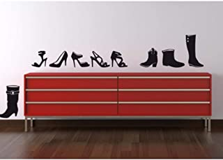 Tacones altos de moda Zapato Pose Arte Pegatinas de pared Vinilo negro Extraíble Decoración del hogar Zapatero Calcomanías Sala de estar Fondo de pantalla 58x42cm