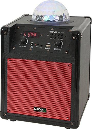 Ibiza Kube 60 draagbare Bluetooth-luidspreker met LED-lichteffecten (Audio In, USB, Micro SD, AUX, FM-radio, ingebouwde accu) Rood
