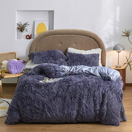 geek cook Flannel duvet cover set,Plush simple winter thick mink velvet bed four-piece princess style lamb velvet double-sided flannel duvet cover-Deep purple_Four-piece 1.5m bed