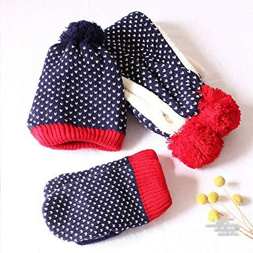 WJINNSH sjaal, Winter Kinderen Pom Pom Knit s Hoed Sjaal Handschoenen 3 Stuks Set Jongen Meisje Zachte Cap Sjaals Baby Kids Bone Stars Gedrukt