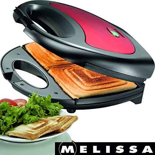 Melissa 16240084 750 Watt Sandwichtoaster Sandwich-Maker mit antihaftbeschichteten Backplatten, Rot Metallic