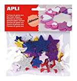 Goma EVA APLI Formas Adhesivas con Purpurina Estrella Color Bolsa de 50