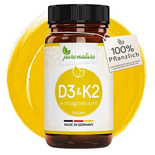 VITAMIN D3 K2 + Magnesium KOMPLEX | 120 Tabletten I Vegan I Hochdosiert 3000 IE pro Tablette I D3 aus Flechten | K2 MK7 Natto - Magnesium natürlich