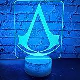 Lampada notturna a LED 3D con logo Assassins Creed per camera da letto dei bambini, cambia colore, lampada 3D, idea regalo unica
