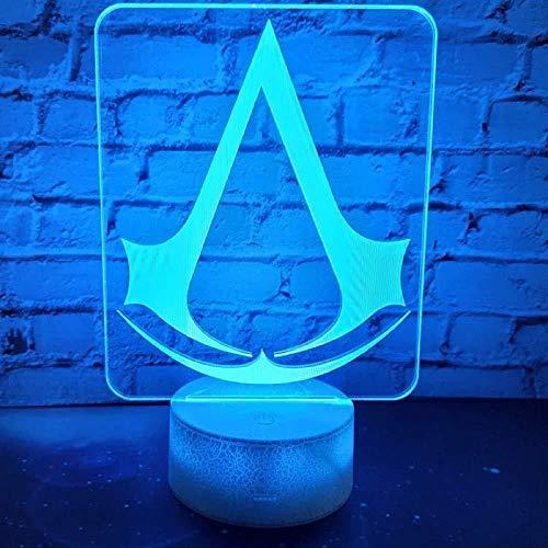 Lámpara de luz nocturna LED 3D Juego Assassins Creed Logo Luz nocturna para niños Decoración de dormitorio Cambio de color Habitación de estudio infantil Lámpara 3D Regalo único