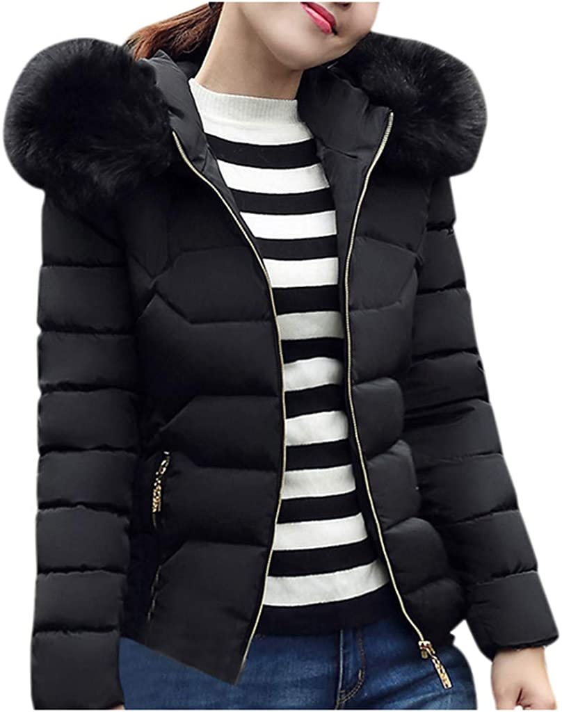 UOFOCO Jackets for Women Winter Cotton Faux Collar Quilted Hooded Short Down Coat