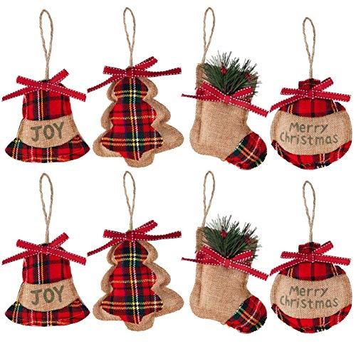 Addobbo per Albero di Natale 8Pcs Decorazione natalizia Campana/Albero di Natale/Calza/Calza Forme a sfera per albero di Natale Pendente Campana Festa per la casa Decorazioni per la casa Campana