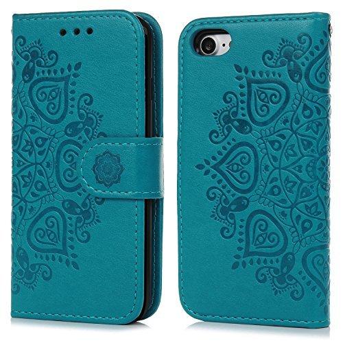 Geniric Funda iPhone 7, Carcasa Libro de Cuero Impresión de Flor PU Premium y TPU Funda Interna (2 en 1, Separable), Wallet Case Cover con Soporte Plegable, Ranuras para Tarjetas y Billetes - Azul