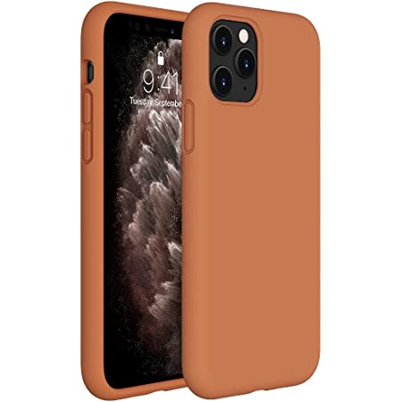 Miracase Liquid Silicone Case Compatible with iPhone 11 Pro Max 6.5 inch(2019), Gel Rubber Full Body Protection Shockproof Cover Case Drop Protection Case (Brown)