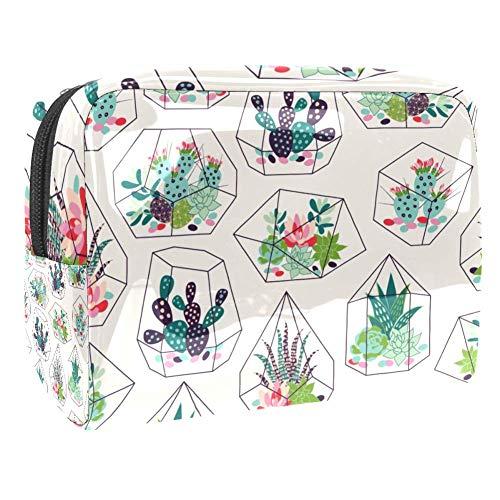 TIZORAX Cactussen In Glas Terrariums Cosmetische Tassen PVC Make-up Tas Reizen Toiletten Handige Pouch Organizer voor Vrouwen