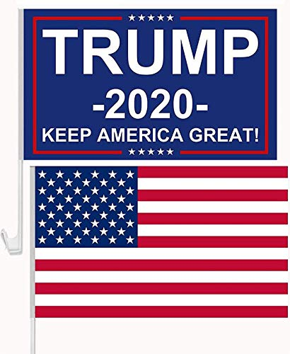 inteluck American Flag Donald Trump 2020 Flags for Car Window-Trump Flags for Car USA US Falg Keep America Great KAG Double Sided Window Clip with Pole for Car SUV Truck Van