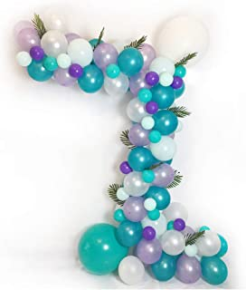 Luvier Purple/Teal Mermaid Themed Balloon Garland Arch Kit / 102pcs Latex/Confetti Balloons with Tools/Perfect Backdrop for Girl's Birthday/Wedding/Baby Shower/Under The Sea Party (Purple-Teal)