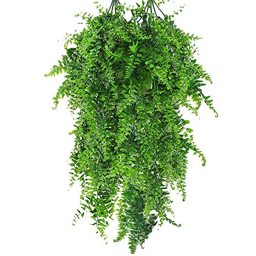 Boston Fern Artificial Plants Plastic Fake Vine Hanging Ivy Artificial Ivy Garland Artificial Greenery Leaves for Wedding Party Garden Wall Decoration 2 Pcs