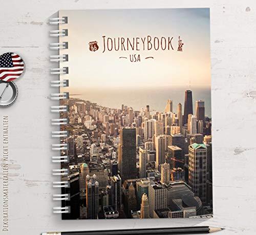 Reisetagebuch USA/Amerika zum selberschreiben oder als Abschiedsgeschenk - DIN A5 mit animierenden Aufgaben und Challenges und Reise-Zitaten