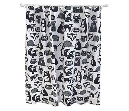 """Pillowfort Forest Friends Shower Curtain Black- 72""""x72"""""""