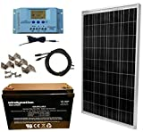 WindyNation 100 Watt Solar Panel Complete Off-Grid RV Boat Kit with P30L LCD PWM Charge Controller, Solar Cable, Mounting Brackets + 100Ah AGM Deep Cycle Battery