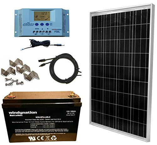 WindyNation Solar Panel Complete Off-Grid RV Boat Kit with LCD PWM Charge Controller