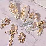 Luxury 3D Bow Flower Crystal Pendant Chain Metal Zircon Bear Pearl Charms Nail Rhinestones Nail Art Jewelry Nail Art Decorations(1877)