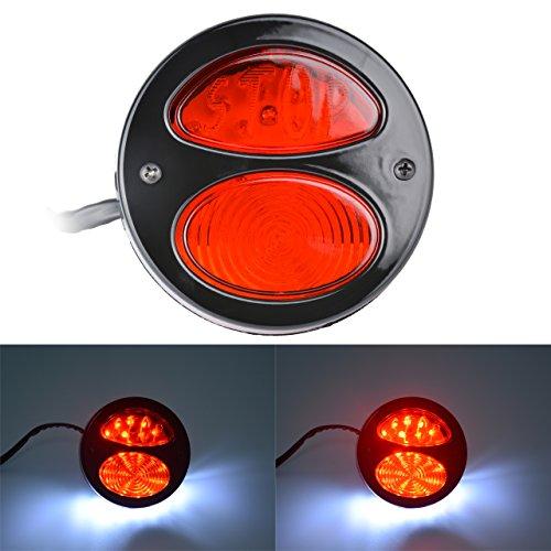 TUINCYN Moto Queue de Frein Rond et Noir Ampoule LED Arrêt Lampe sans Témoin Lumineux Fer Arrière Mounts