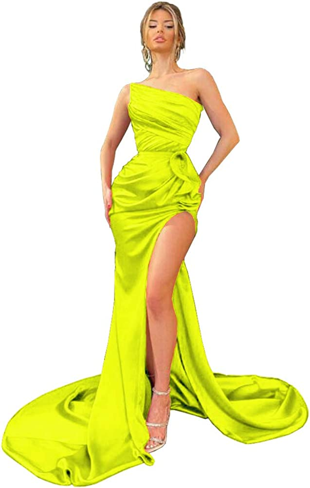 Meicuhap Women's Mermaid High Slit Boston Mall Classic Prom Pleate Strapless Dresses